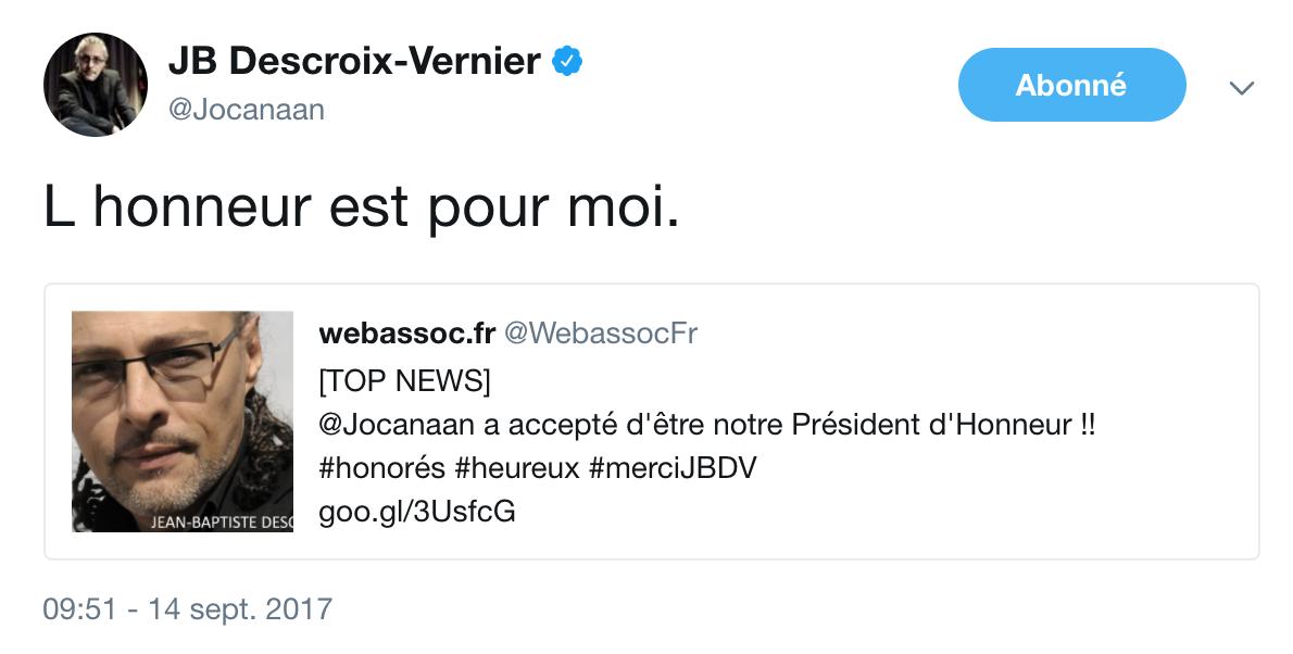 Jean-Baptiste Descroix-Vernier Président d'Honneur de Webassoc